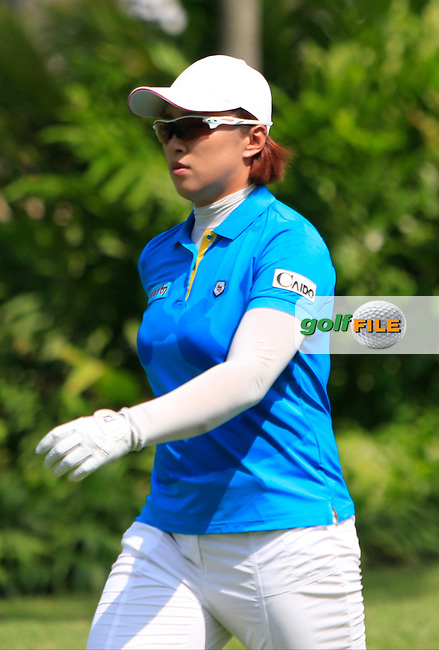 Amy Yang (KOR) on the 9th tee during Round 3 of the HSBC Women's Champions at the Sentosa Golf Club, The Serapong Course in Singapore on Saturday 7th March 2015.<br /> Picture:  Thos Caffrey / www.golffile.ie