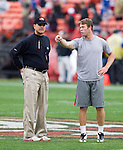 San Francisco 49ers backup quarterback Scott Tolzien (3) talks to Head Coach Jim Harbaugh during warmups prior to an NFC Championship NFL football game against the New York Giants on January 22, 2012 in San Francisco, California. The Giants won 20-17 in overtime. (AP Photo/David Stluka)