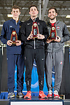 UNIVERSITY PARK, PA - MARCH 25: (L-R); Nick Itkin (foil) of Notre Dame University, Eli Dershwitz (sabre) of Harvard University and Marc Blais-Antoine (epee) of Ohio State University are the 2018 National Champions for Division I Men's Fencing Championship held at the Multi-Sport Facility on the Penn State University campus on March 25, 2018 in University Park, Pennsylvania. (Photo by Doug Stroud/NCAA Photos via Getty Images)