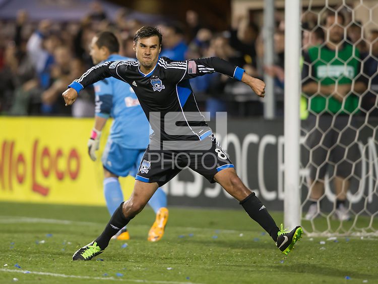 March 10th, 2013: San Chris Wondolowski celebrates his penalty kick goal during a game agains Red Bulls at Buck Shaw Stadium, Santa Clara, Ca.   Earthquakes defeated Red Bulls 2-1