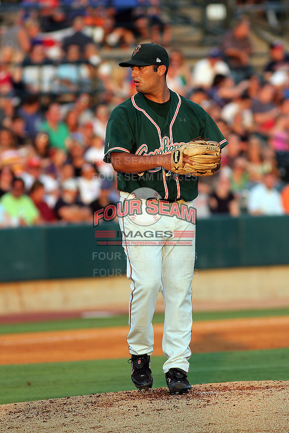 Greensboro Grasshoppers pitcher Gregory Nappo #52 pitching for the Northern division team in the South Atlantic League All-Star game held at the Joseph P. Riley Jr.Ballpark in Charleston, South Carolina on June 19th, 2012. The Northern division defeated the Southern division by the score of 3-2. (Robert Gurganus/Four Seam Images)