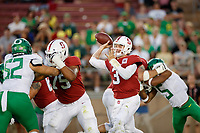 STANFORD, CA - SEPTEMBER 21: K.J. Costello #3 of the Stanford Cardinal throws a pass during a game between University of Oregon and Stanford Football at Stanford Stadium on September 21, 2019 in Stanford, California.