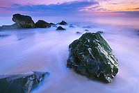 Rock Outcropping, incoming tide and predawn light, Atlantic Ocean, and Long beach, New Jersey