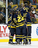 The Warriors celebrate Sheen's goal. - The Merrimack College Warriors defeated the University of New Hampshire Wildcats 4-1 (EN) in their Hockey East Semi-Final on Friday, March 18, 2011, at TD Garden in Boston, Massachusetts.