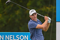 Aaron Wise (USA) watches his tee shot on 15 during the round 1 of the AT&amp;T Byron Nelson, Trinity Forest Golf Club, Dallas, Texas, USA. 5/9/2019.<br /> Picture: Golffile | Ken Murray<br /> <br /> <br /> All photo usage must carry mandatory copyright credit (&copy; Golffile | Ken Murray)