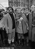 Tariq Ali and Vanessa Redgrave lead the march, anti-Vietnam war demonstration from Trafalgar Sq to Grosvenor Sq Sunday 17th March 1968.  A young Richard Branson is visible between them.  At the time, I think he was editor of a student magazine.  I was told the headband was a Vietnamese sign of mourning for dead children.