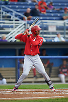 Williamsport Crosscutters outfielder Jose Pujols (23) at bat during a game against the Batavia Muckdogs on August 29, 2015 at Dwyer Stadium in Batavia, New York.  Williamsport defeated Batavia 7-3.  (Mike Janes/Four Seam Images)
