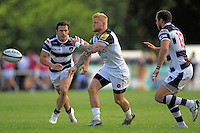 Tom Homer of Bath Rugby passes the ball. Pre-season friendly match, between Yorkshire Carnegie and Bath Rugby on August 13, 2016 at Ilkley RFC in Ilkley, England. Photo by: Ian Smith / Onside Images