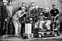 Director William Friedkin with the camera crew about to shoot a scene on the set of the feature film 'Killer Joe' in New Orleans, LA.