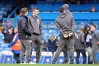 Jamie Vardy of Leicester city and his team mates walk out on the pitch after arriving before beforeChelsea vs Leicester City, Premier League Football at Stamford Bridge on 13th January 2018