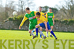 Kerry's Jonathan Hannifan tries to get passed Clare's Mattie Nugent in the Oscar Traynor Cup Semi-final Kerry v Clare at Mouthawk park, Tralee on Sunday