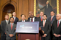 United States Senator Tim Scott (Republican of South Carolina) makes remarks as US Senate and House Republicans announce their new tax plan endorsed by US President Donald J. Trump in the US Capitol in Washington, DC on Wednesday, September 27, 2017. Photo Credit: Ron Sachs/CNP/AdMedia