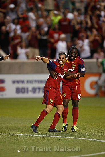 Trent Nelson  |  The Salt Lake Tribune.RSL's Fabian Espindola, left, celebrates his late goal with teammate Jean Alexandre. Real Salt Lake vs. FC Dallas at Rio Tinto Stadium in Sandy, Utah, Saturday, July 9, 2011