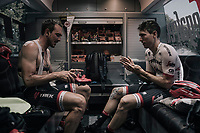 John Degenkolb (DEU/Trek-Segafredo) &amp; Michael Gogl (AUT/Trek-Segafredo) prepping in the back of the teambus<br /> <br /> 104th Tour de France 2017<br /> Stage 8 - Dole &rsaquo; Station des Rousses (187km)