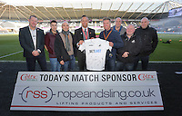 Club ambassador Lee Trundle with match sponsors prior to the Premier League match between Swansea City and Manchester United at The Liberty Stadium, Swansea, Wales, UK. Sunday 06 November 2016