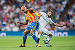Nacho Fernandez (r) of Real Madrid fights for the ball with Simone Zaza of Valencia CF during their La Liga 2017-18 match between Real Madrid and Valencia CF at the Estadio Santiago Bernabeu on 27 August 2017 in Madrid, Spain. Photo by Diego Gonzalez / Power Sport Images