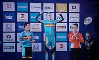 Men U23 podium:<br /> 1/ Michael Vanthourenhout (BEL)<br /> 2/ Laurens Sweeck (BEL)<br /> 3/ Stan Godrie (NLD)<br /> <br /> 2015 UCI World Championships Cyclocross <br /> Tabor, Czech Republic