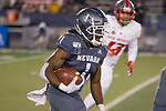 Nevada's Melquan Stovall (1) returns a kick against New Mexico in the second half of an NCAA college football game in Reno, Nev., Saturday, Nov. 2, 2019. (AP Photo/Tom R. Smedes)