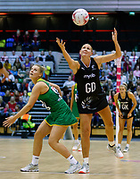 20.01.2019 Silver Ferns in action during the Silver Ferns v South Africa netball test match at the Copper Box Arena, London. Mandatory Photo Credit ©Michael Bradley Photography/Ben Queenborough.20.01.2019 Casey Kapua of the Silver Ferns  during the Silver Ferns v South Africa netball test match at the Copper Box Arena, London. Mandatory Photo Credit ©Michael Bradley Photography/Ben Queenborough.