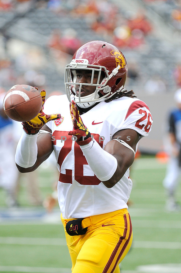 USC Trojans Josh Shaw (26) in action during a game against the Syracuse Orange on September 8, 2012 at MetLife Stadium in East Rutherford, NJ. USC beat Syracuse 42-29.