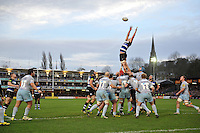 Tom Ellis of Bath Rugby rises high to win lineout ball. Aviva Premiership match, between Bath Rugby and Northampton Saints on December 5, 2015 at the Recreation Ground in Bath, England. Photo by: Patrick Khachfe / Onside Images
