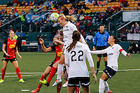 Rochester, NY - Friday April 29, 2016: Washington Spirit defender Megan Oyster (4) goes up for a header. The Washington Spirit defeated the Western New York Flash 3-0 during a National Women's Soccer League (NWSL) match at Sahlen's Stadium.