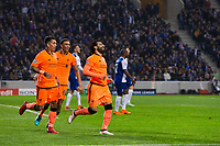 Liverpool's Mohamed Salah celebrates scoring his side's second goal <br /> <br /> Photographer Craig Mercer/CameraSport<br /> <br /> UEFA Champions League Round of 16 First Leg - FC Porto v Liverpool - Wednesday 14th February 201 - Estadio do Dragao - Porto<br />  <br /> World Copyright &copy; 2018 CameraSport. All rights reserved. 43 Linden Ave. Countesthorpe. Leicester. England. LE8 5PG - Tel: +44 (0) 116 277 4147 - admin@camerasport.com - www.camerasport.com