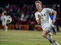 COLLEGE PARK, MD - NOVEMBER 21: Josh Plimpton #7 of Iona chases after the ball during a game between Iona College and University of Maryland at Ludwig Field on November 21, 2019 in College Park, Maryland.