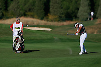 Lee Slattery (ENG) plays his 2nd shot on the 18th hole during Sunday's Final Round of the Bankia Madrid Masters at El Encin Golf Hotel, Madrid, Spain, 9th October 2011 (Photo Eoin Clarke/www.golffile.ie)