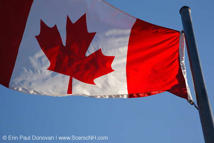 The Canadian flag flying at Loon Mountain in Lincoln, New Hampshire