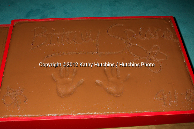 LOS ANGELES - SEP 11:  Britney Spears Handprints at the FOX  X-Factor Judges Handprint Ceremony at Graumans Chinese Theater on September 11, 2012 in Los Angeles, CA