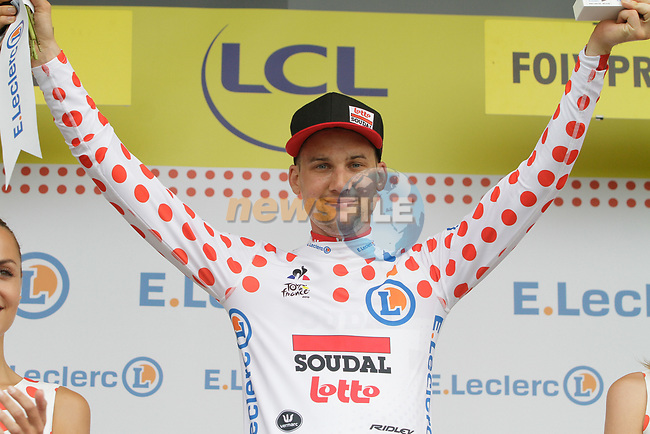 Tim Wellens (BEL) Lotto-Soudal retains the mountains Polka Dot Jersey at the end of Stage 15 of the 2019 Tour de France running 185km from Limoux to Foix Prat d'Albis, France. 20th July 2019.<br /> Picture: Colin Flockton   Cyclefile<br /> All photos usage must carry mandatory copyright credit (© Cyclefile   Colin Flockton)