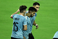 ARMENIA – COLOMBIA, 19-01-2020: Diego Rossi (C) de Uruguay celebra después de anotar el primer gol de su equipo durante partido entre Uruguay y Paraguay por la fecha 1, grupo B, del CONMEBOL Preolímpico Colombia 2020 jugado en el estadio Centenario de Armenia, Colombia. /  Diego Rossi (C) of Uruguay celebrates after scoring the first goal of his team during the match between Colombia and Paraguay for the date 1, group B, for the CONMEBOL Pre-Olympic Tournament Colombia 2020 played at Centenario stadium in Armenia, Colombia. Photos: VizzorImage / Gabriel Aponte / Staff
