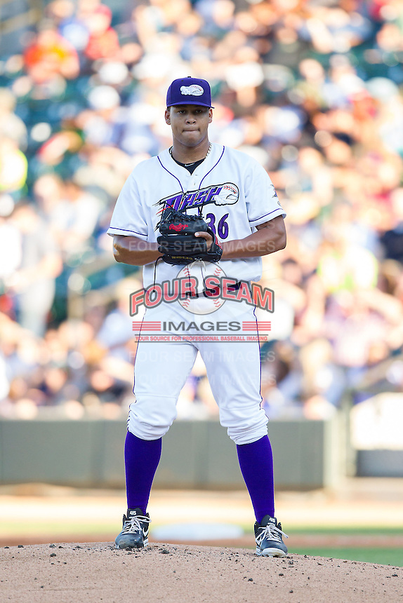 Winston-Salem Dash starting pitcher Frank Montas (36) in action against the Carolina Mudcats at BB&T Ballpark on June 6, 2014 in Winston-Salem, North Carolina.  The Mudcats defeated the Dash 3-1.  (Brian Westerholt/Four Seam Images)