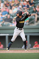 Shortstop Cesar Izturis Jr. (13) of the West Virginia Power bats in a game against the Greenville Drive on Friday, May 17, 2019, at Fluor Field at the West End in Greenville, South Carolina. West Virginia won, 10-4. (Tom Priddy/Four Seam Images)