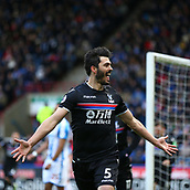 17th March 2018, The John Smiths Stadium, Huddersfield, England; EPL Premier League football, Huddersfield Town versus Crystal Palace; James Tomkins of Crystal Palace celebrates scoring in the 23rd minute to make it 0-1
