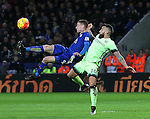 Leicester's Jamie Vardy tussles with Manchester City's Nicolas Otamendi<br /> <br /> Barclays Premier League- Leicester City vs Manchester City - King Power Stadium - England - 29th December 2015 - Picture - David Klein/Sportimage