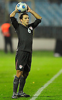 Steve Cherundolo looks for an open teammate. Slovakia defeated the US Men's National Team 1-0 at the Tehelne Pole in Bratislava, Slovakia on November 14th, 2009.