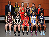 The 2016 Newsday All-Long Island varsity girls basketball team poses for a group picture at company headquarters on Tuesday, Mar. 29, 2016. FRONT ROW, FROM LEFT: Gabrielle Zaffiro - North Shore, Jackie DelliSanti - Commack, Kaela Hilaire - Floral Park, Mikaiya Moore - Copiague and Aziah Hudson - Baldwin. BACK ROW, FROM LEFT: Coach Ken Parham - St. Anthony's, Jayla Jones-Pack - St. Anthony's, Danielle Cosgrove - Sachem East, Sarah Mortensen - Long Island Lutheran, Melanie Hingher - Massapequa and Coach Mike Spina - Floral Park.