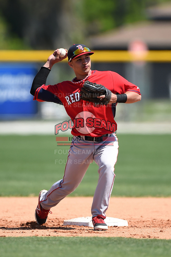Boston Red Sox Jeremy Rivera (11) during practice before a minor league spring training game against the Baltimore Orioles on March 20, 2015 at Buck O'Neil Complex in Sarasota, Florida.  (Mike Janes/Four Seam Images)