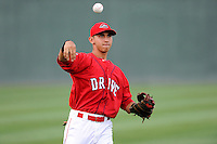 Shortstop Javier Guerra (31) of the Greenville Drive warms up before a game against the Augusta GreenJackets on Thursday, June 11, 2015, at Fluor Field at the West End in Greenville, South Carolina. Guerra is the No. 13 prospect of the Boston Red Sox, according to Baseball America. Greenville won, 10-1. (Tom Priddy/Four Seam Images)