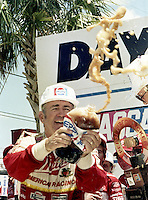 Bobby Allison sprays pepsi victory lane Pepsi Firecracker 400 Daytona International Speedway Daytona Beach FL July 1987 (Photo by Brian Cleary/www.bcpix.com)