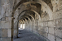 A corridor of arches in the Aspendos Turkey Roman theater.