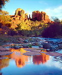 USA, Arizona,  Sedona.  Cathedral Rock reflecting in Oak Creek.  Credit as: Christopher Talbot Frank