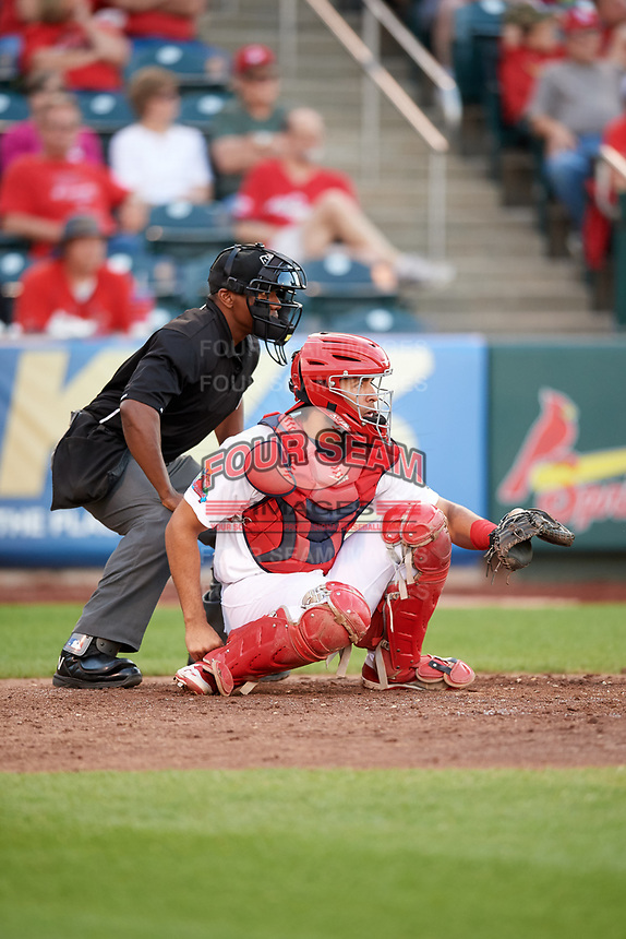 Springfield Cardinals catcher Gabriel Lino (5) and home plate umpire Malachi Moore during a game against the Corpus Christi Hooks on May 30, 2017 at Hammons Field in Springfield, Missouri.  Springfield defeated Corpus Christi 4-3.  (Mike Janes/Four Seam Images)