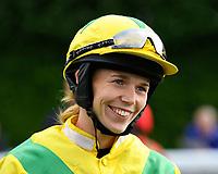 Jockey Megan Trainor during Evening Racing at Salisbury Racecourse on 3rd September 2019