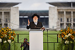 28.7.2015, Berlin Olympic Sports Park. Memorial at Maifeld during the European Maccabi Games Rabbi Yitzhak Ehrenberg