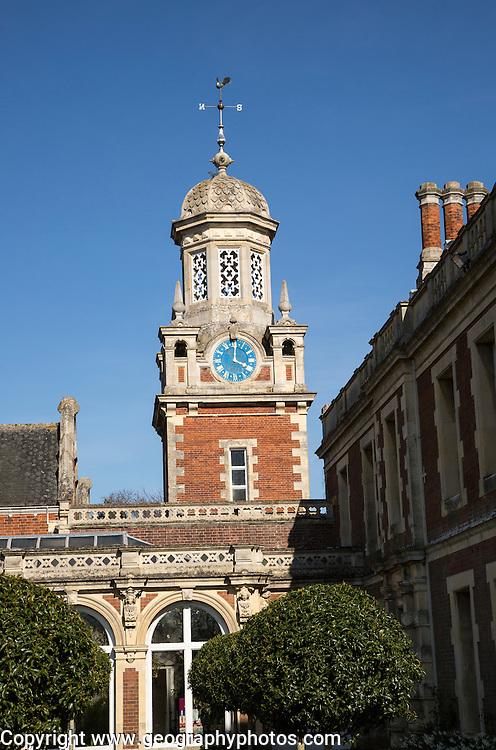 Clock tower of Somerleyton Hall country house, near Lowestoft, Suffolk, England, UK