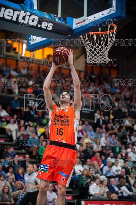 VALENCIA, SPAIN - OCTOBER 18: Guillem Vives during ENDESA LEAGUE match between Valencia Basket Club and FIATC Joventut at Fonteta Stadium on October 18, 2015 in Valencia, Spain
