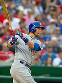 Chicago Cubs second baseman Ben Zobrist (18) bats in the tenth inning against the Washington Nationals at Nationals Park in Washington, D.C. on Wednesday, June 15, 2016.  The Nationals won the game 5 - 4 in 12 innings.<br /> Credit: Ron Sachs / CNP